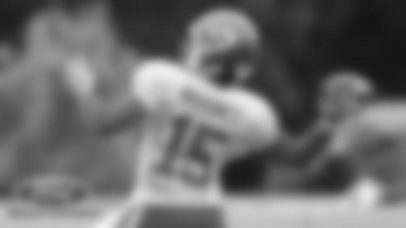 Kansas City Chiefs Quarterback Patrick Mahomes (15) during a 2019 Training Camp practice at Missouri Western State University in St. Joseph, MO.