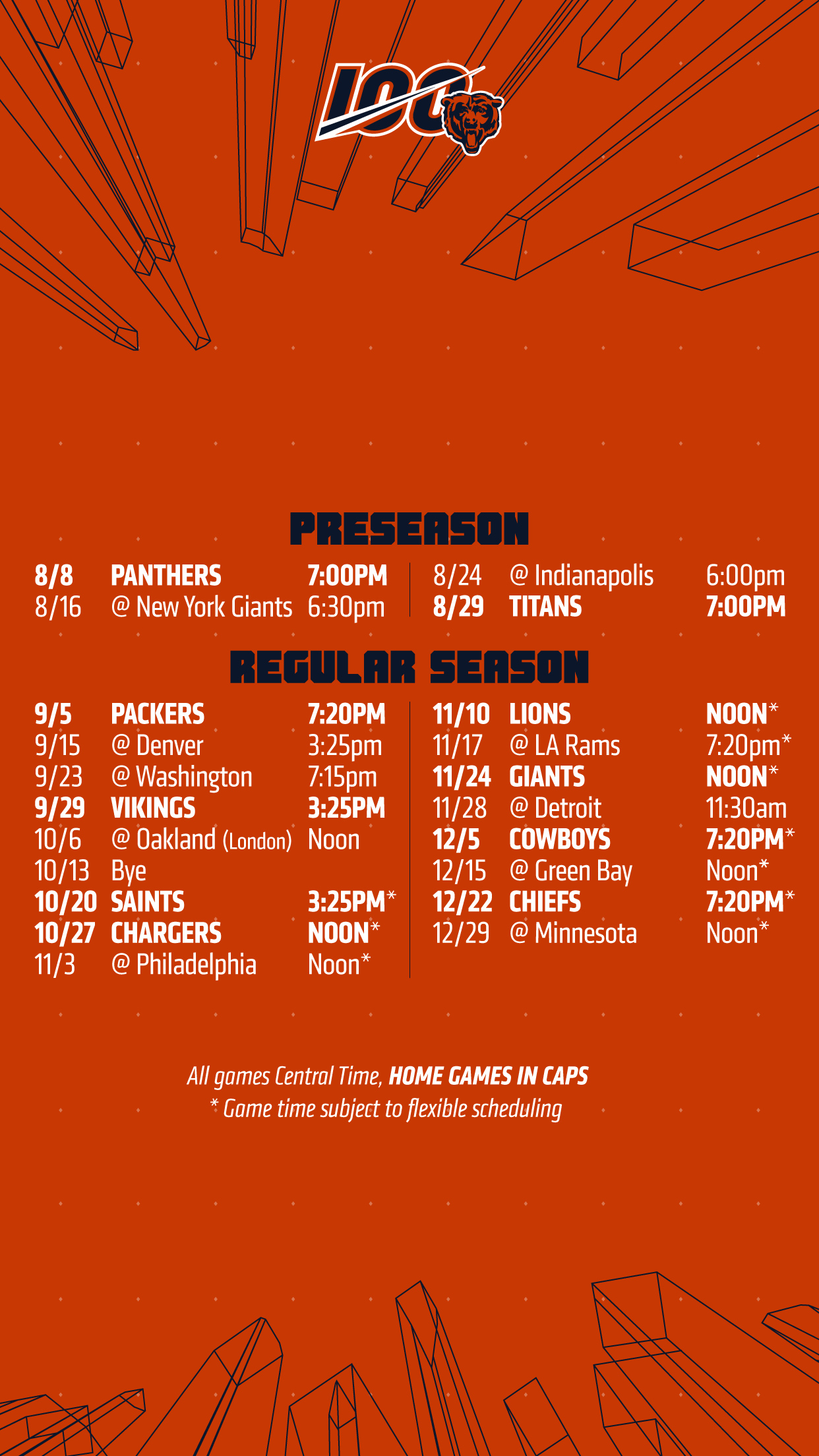 photograph relating to Chicago Bears Schedule Printable called Wallpapers Chicago Bears Formal World wide web