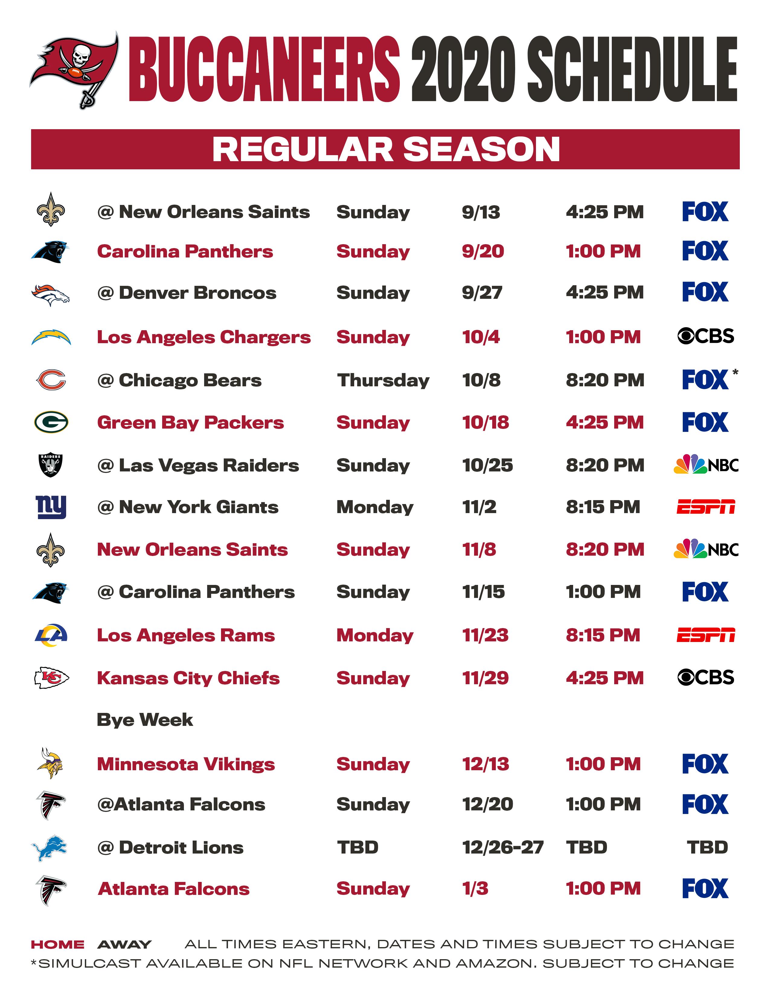 Buccaneers Schedule Tampa Bay Buccaneers Buccaneers Com