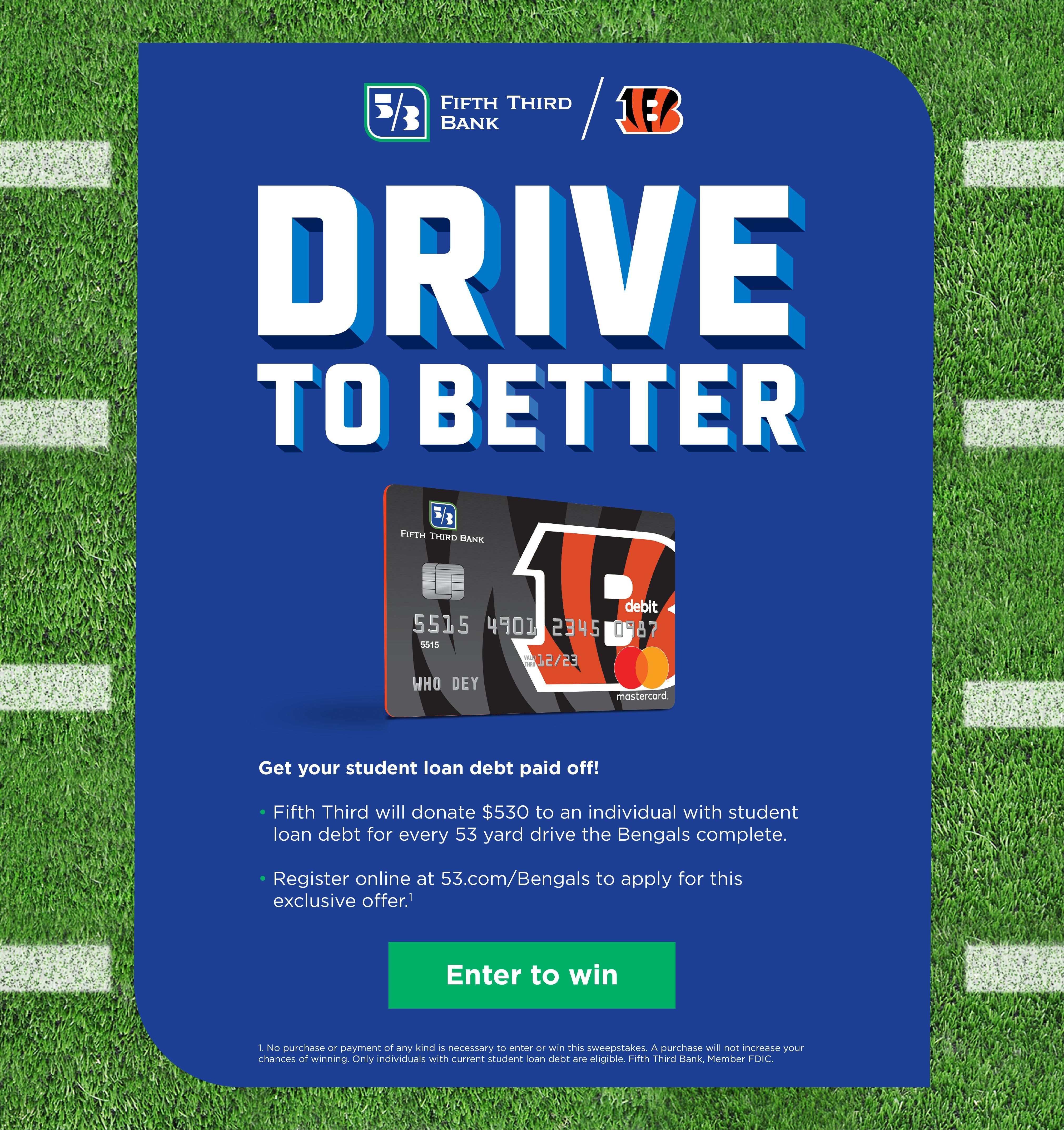 Sign up for Bengals Banking today and receive a Bengals branded debit card.  Plus get exclusive Who Dey Perks!