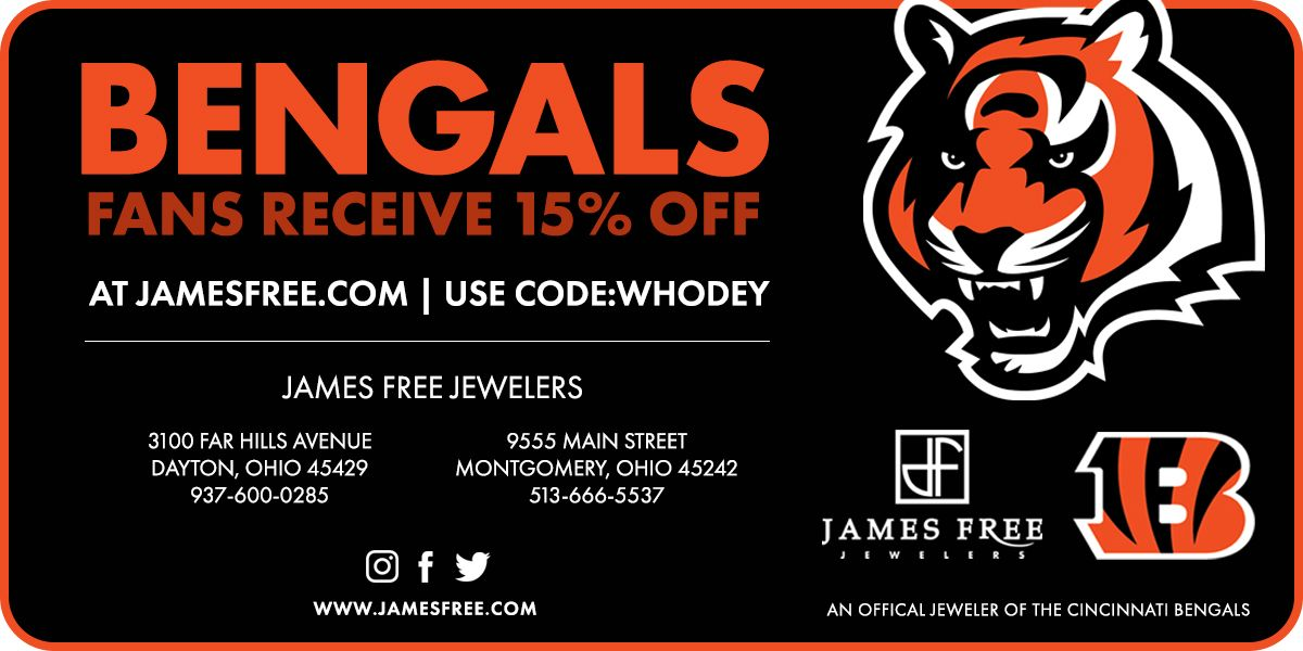 James Free Jewelers 15% Off for Bengals Fans