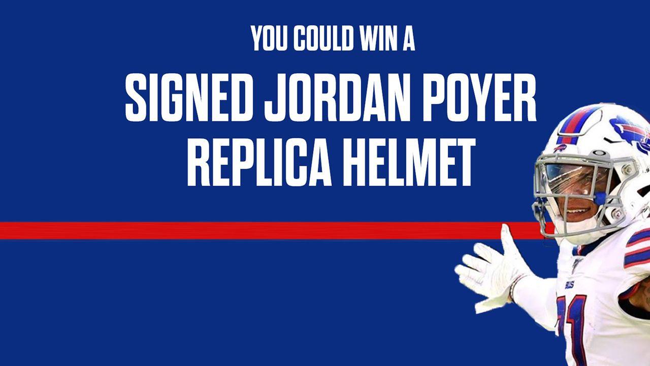 You could win an autographed Jordan Poyer replica helmet!