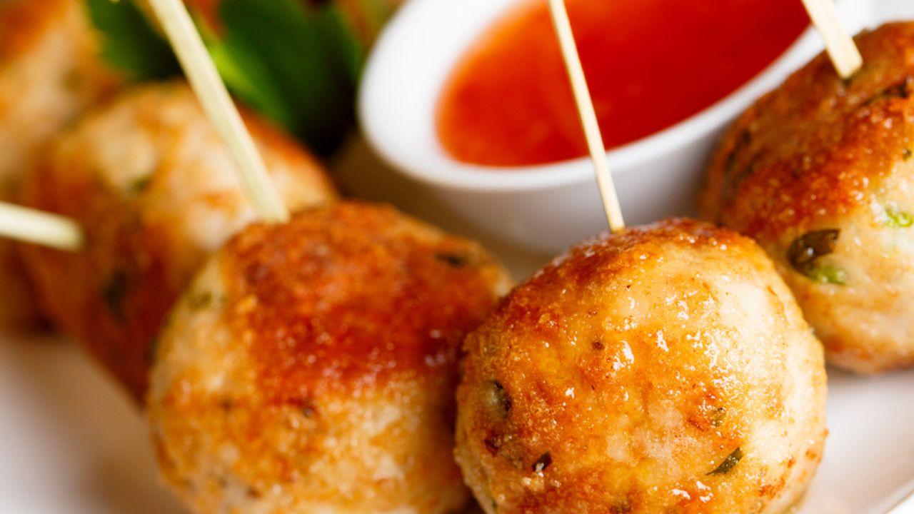 Dip in the Red Zone Turkey Meatball Skewers