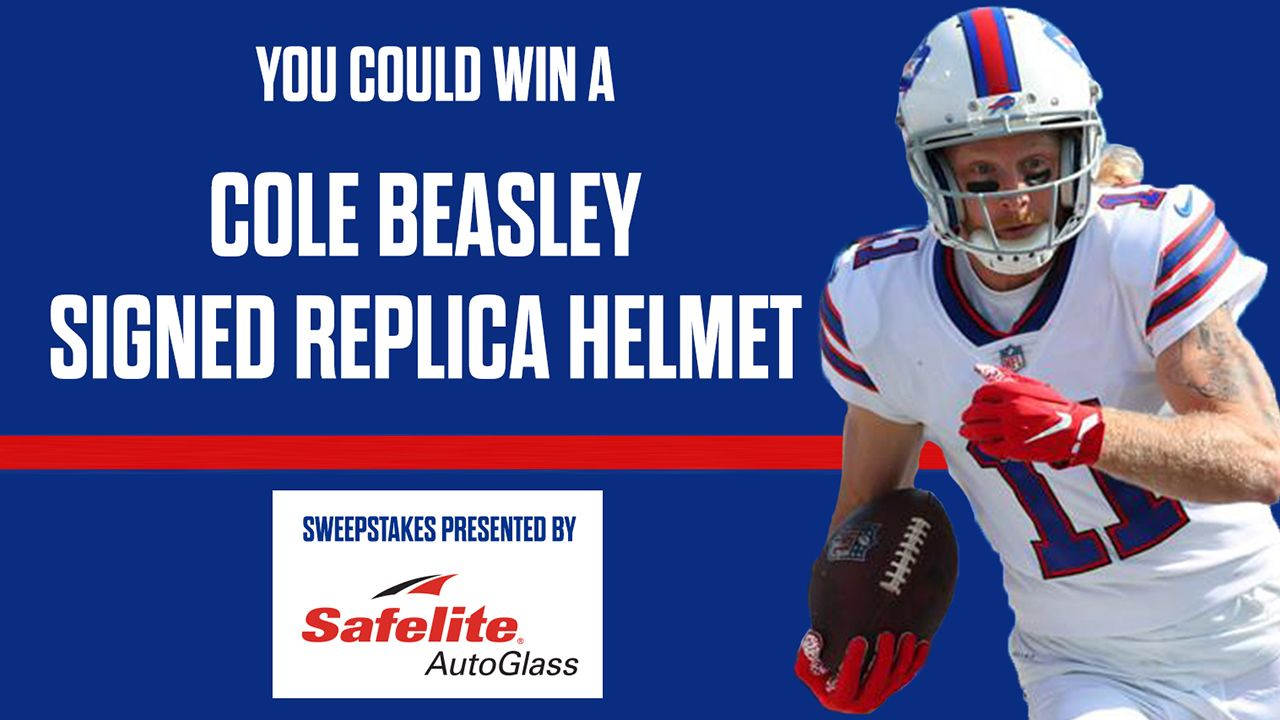 You could win a Cole Beasley autographed replica helmet!