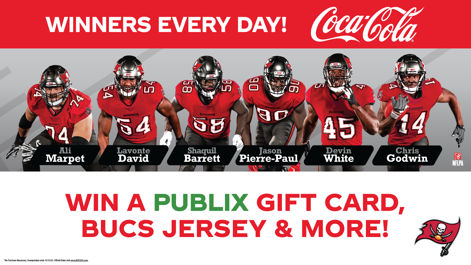 Enter the BUCS Home Tailgate Instant Win Game presented by Coca-Cola! Prizes Awarded Everyday! Enter now to win a Publix® Gift Card, BUCS Jersey, and more!