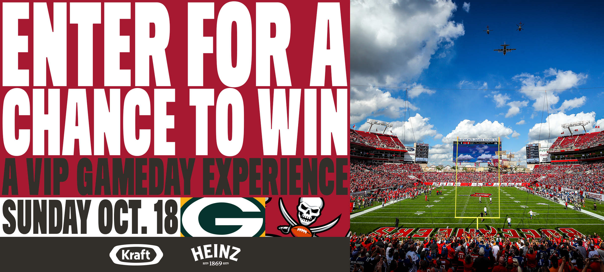 Enter for a chance to win a vip gameday experience. sunday oct
