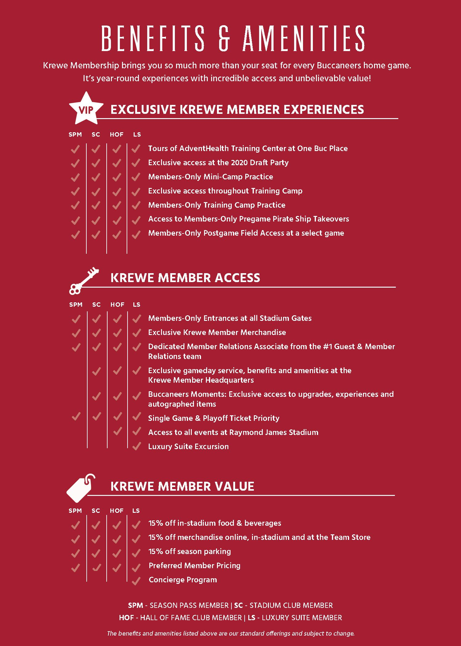 Members Benefits: To learn more please visit https://am.ticketmaster.com/bucs/contactus#/