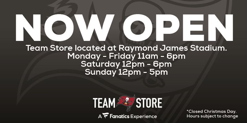 The team store is closed on Christmas Day, 2020 - Hours are subject to change.
