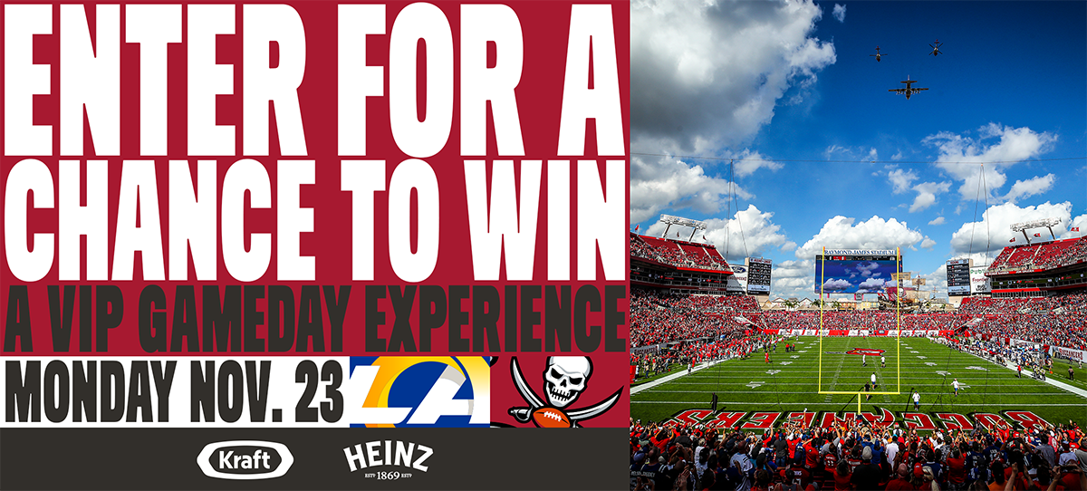 Enter for a chance to win a vip gameday experience. monday nov 23 rams vs bucs