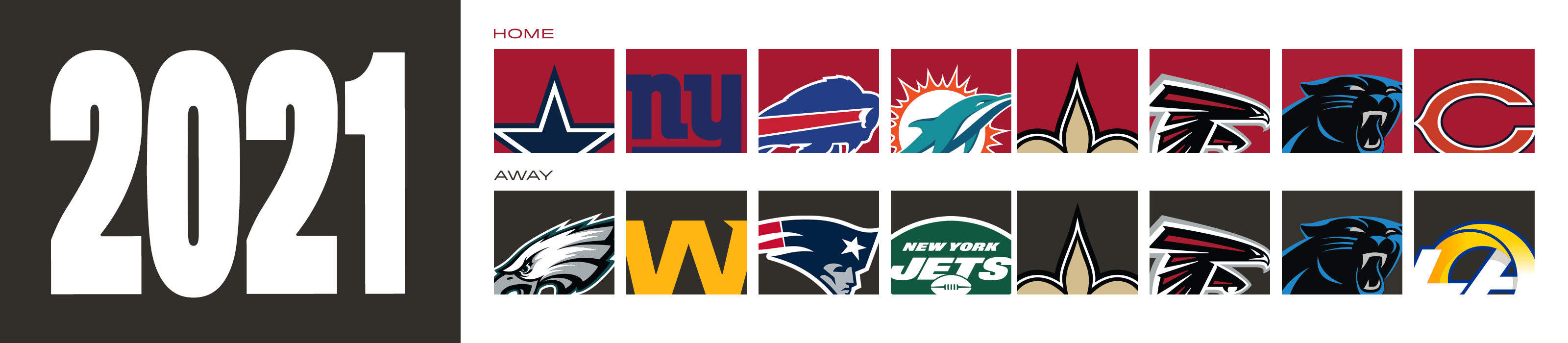 2021 Opponents - home - cowboys, giants, bills, dolphins, saints, falcons, panthers, bears away- eagles, washington, patriots, jets, saints, falcons, panthers, rams