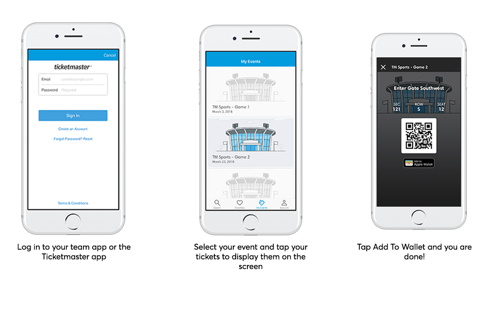 Log into the team or Ticketmaster app, select your event and tap your tickets to display them on the screen, tap save to phone