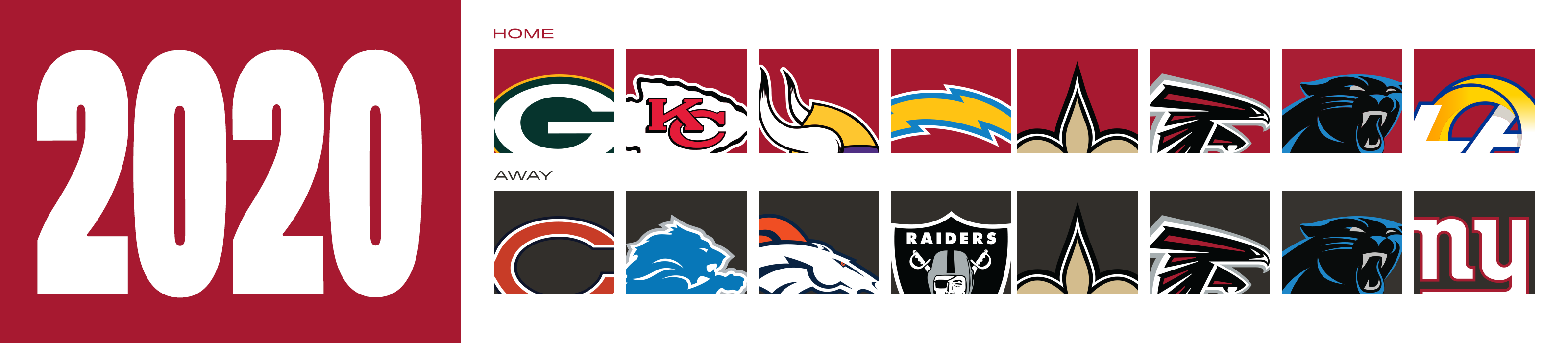 2020 Opponents - home - packers, chiefs, vikings, saints, chargers, falcons, panthers, rams away -bears, lions, broncos, raiders, saints, falcons, panthers, giants