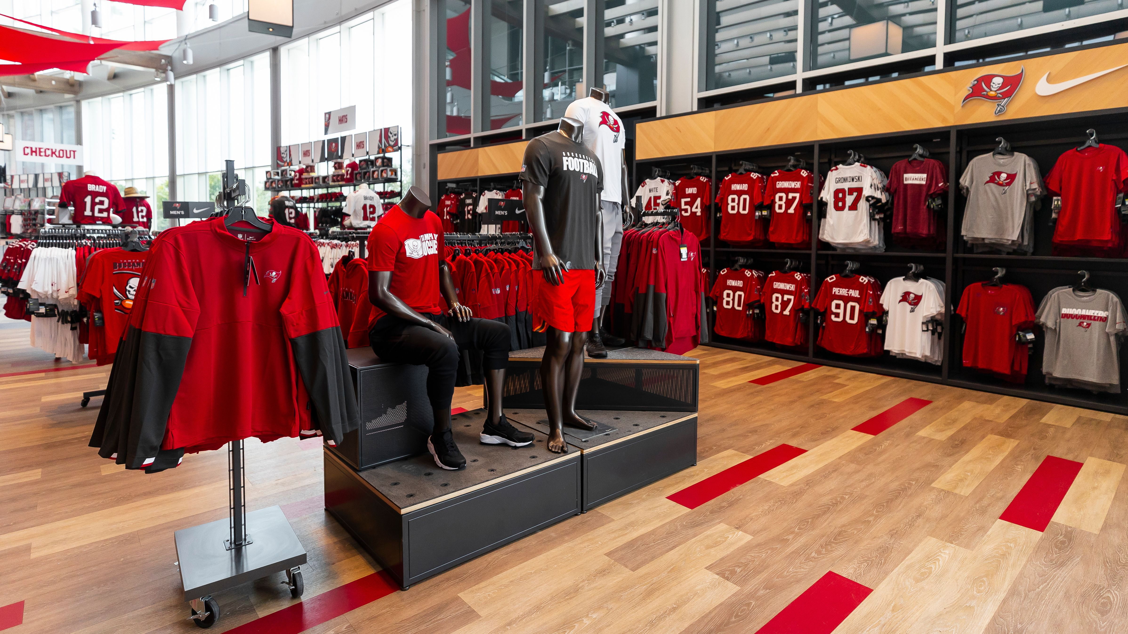 TAMPA, FL - SEPTEMBER 09, 2020 - The Team Store at Raymond James Stadium. Photo By Tori Richman/Tampa Bay Buccaneers