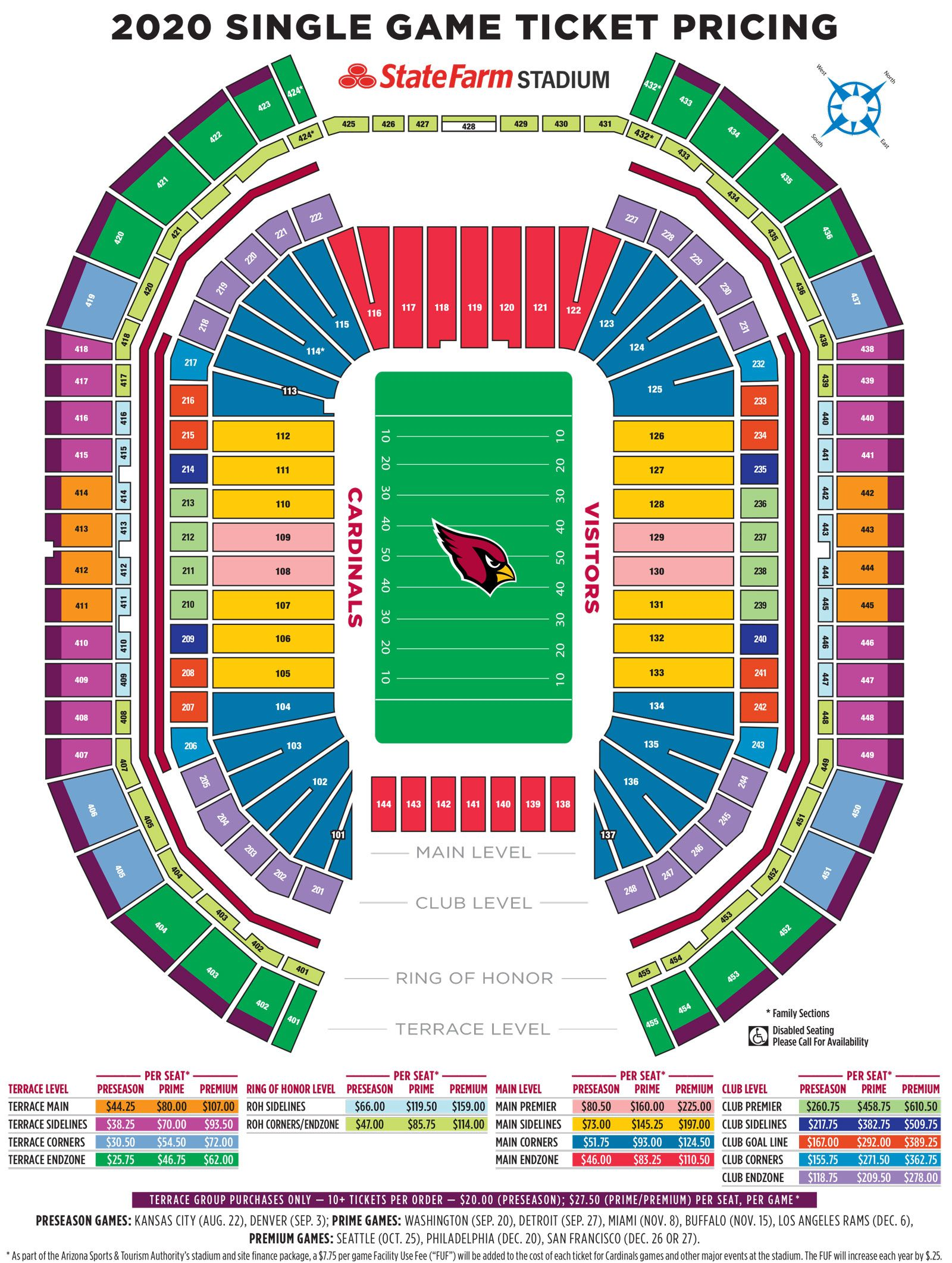 Arizona Cardinals Seating Map Pricing Chart Single Game With Preseason Opponents Promo Image