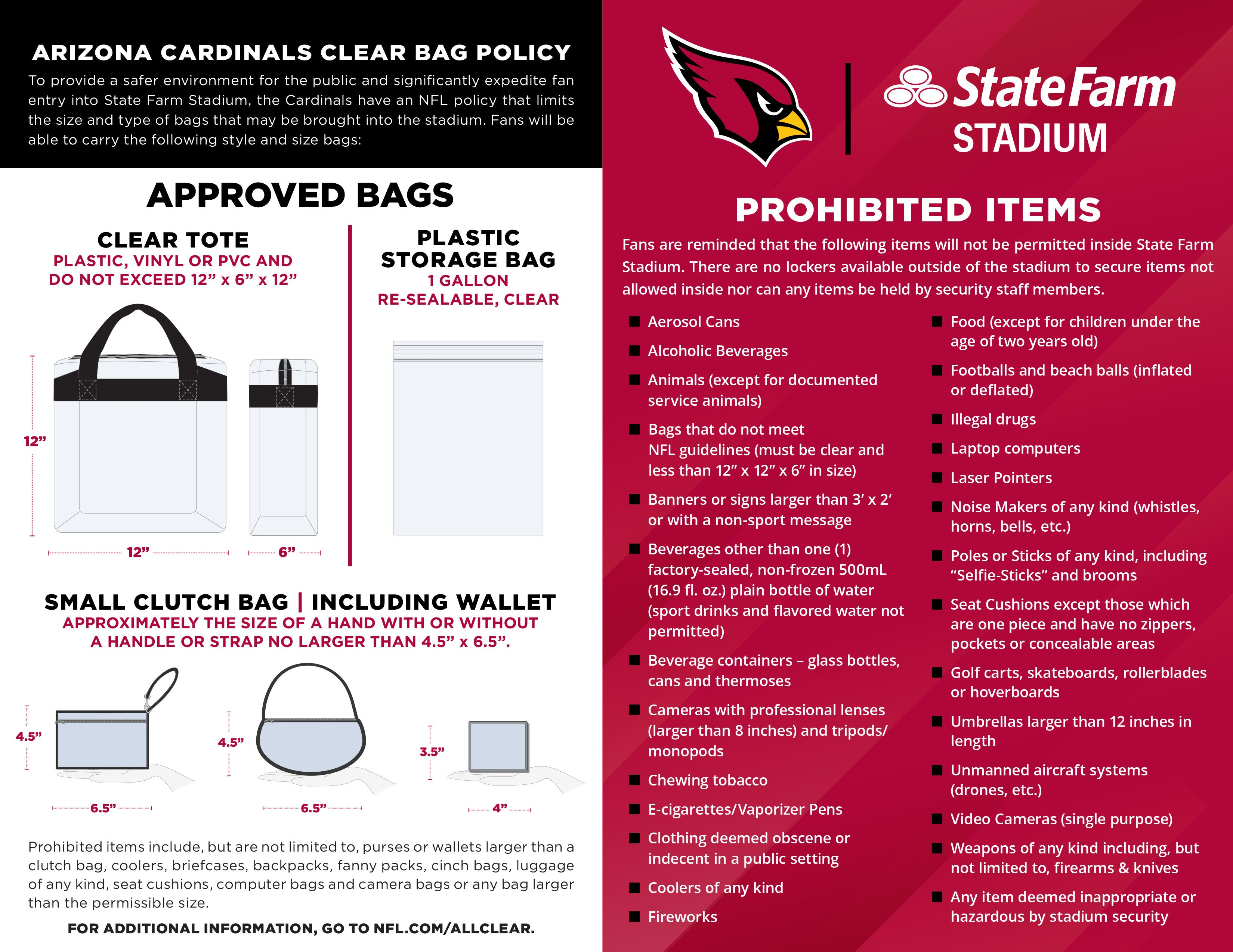 Arizona Cardinals Bag Policy and Prohibited Items List October 16, 2020