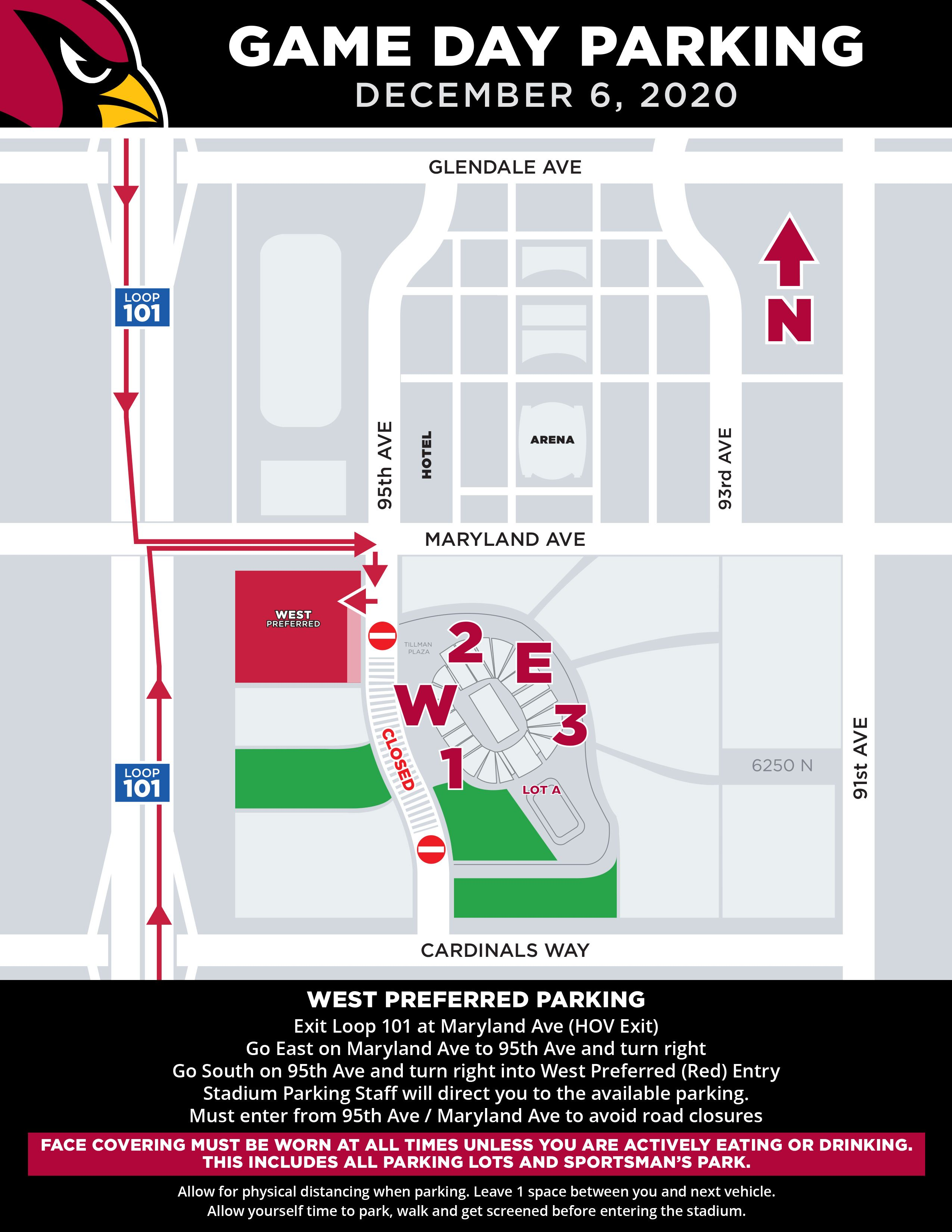 Arizona Cardinals West Preferred Parking Map For State Farm Stadium on December 6, 2020 vs. Los Angeles Rams