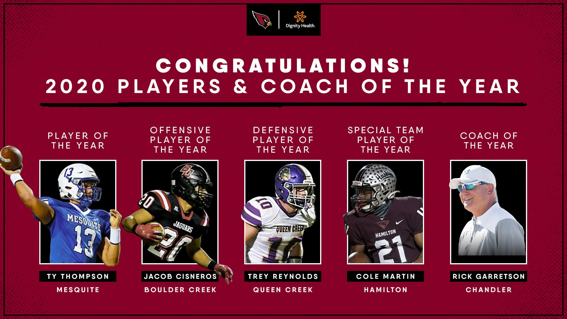 2020 Cardinals Community Players and Coach of the Year