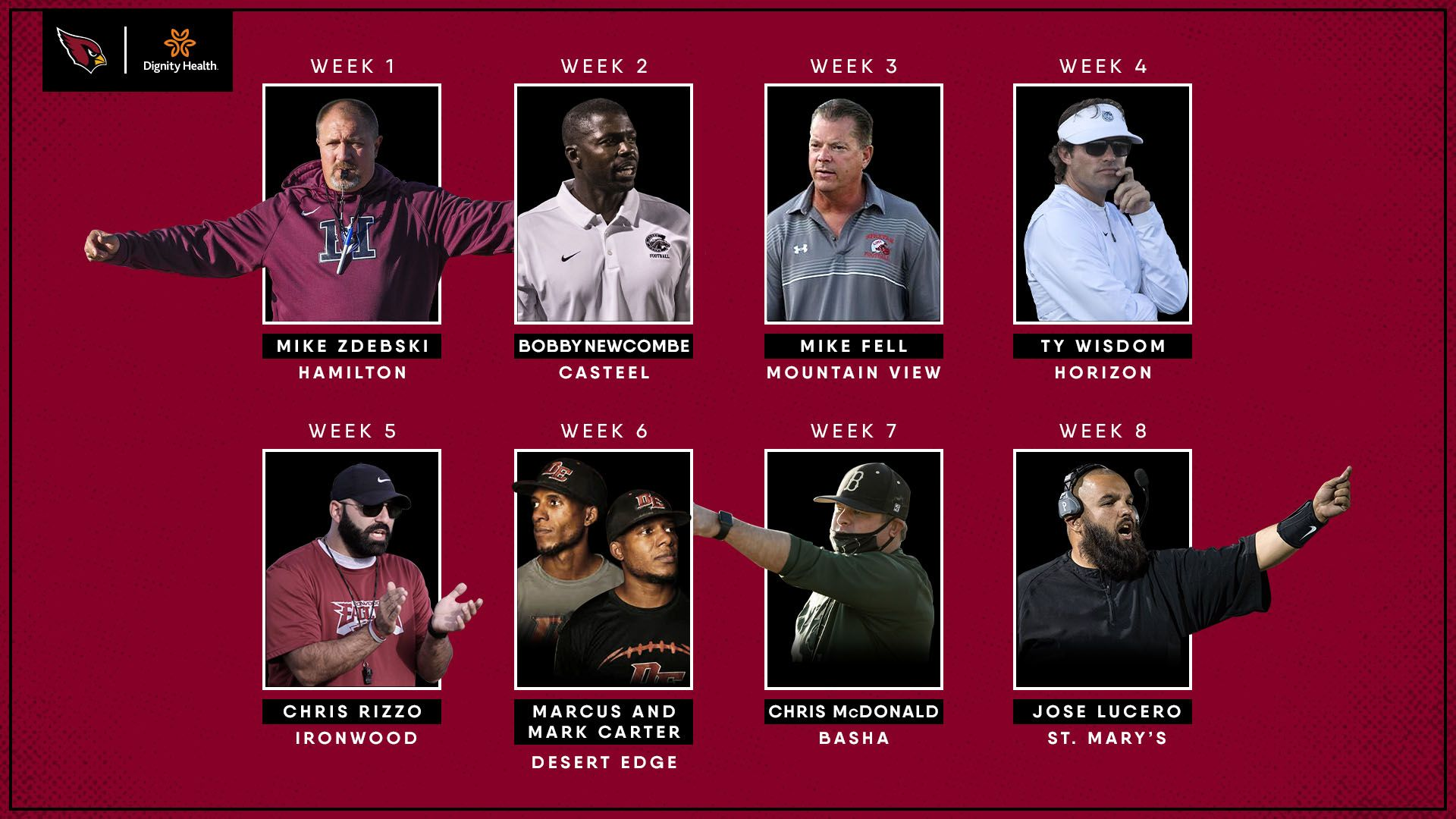 2020 Cardinals Community Coaches of the Week