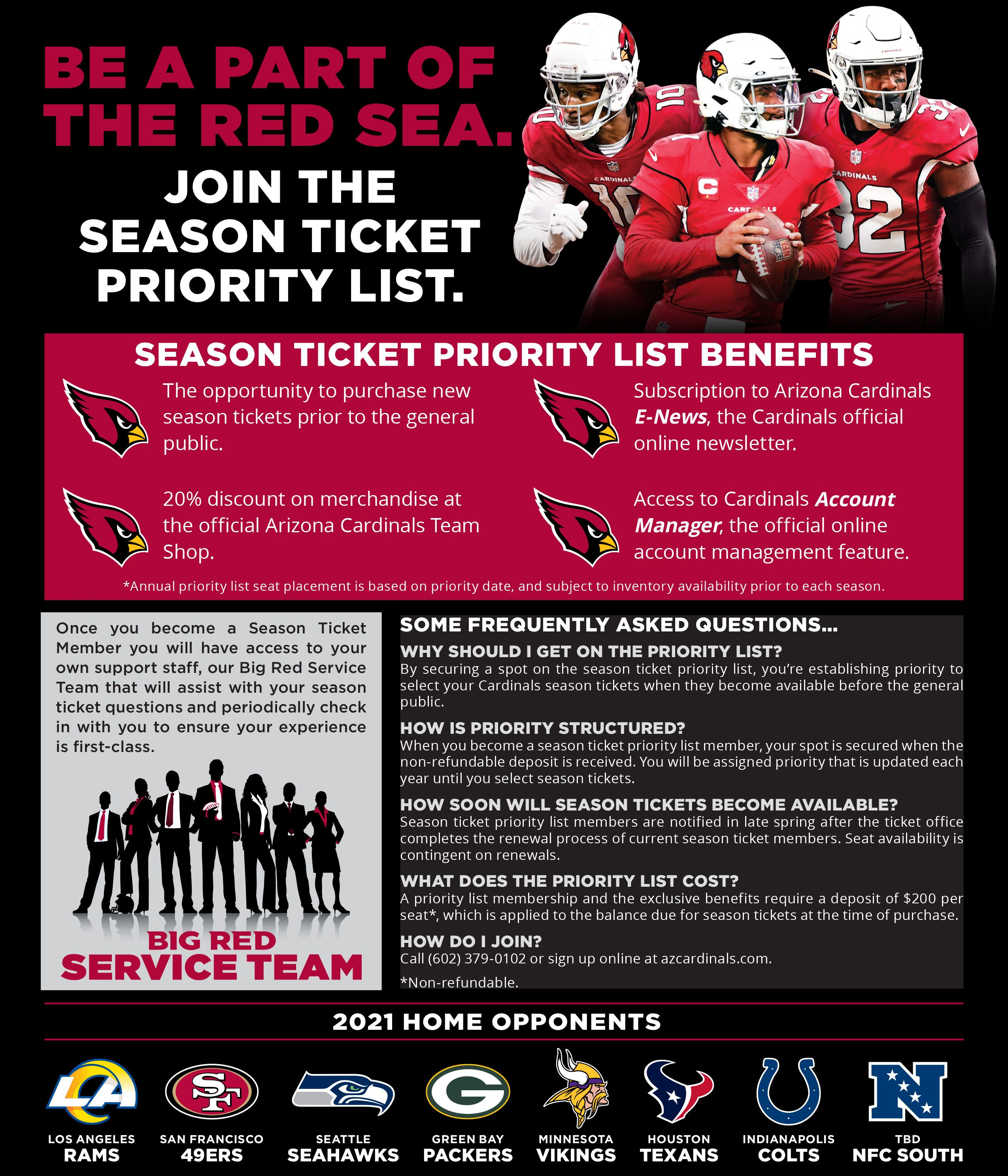 Arizona Cardinals Season Ticket Priority List Information 2020