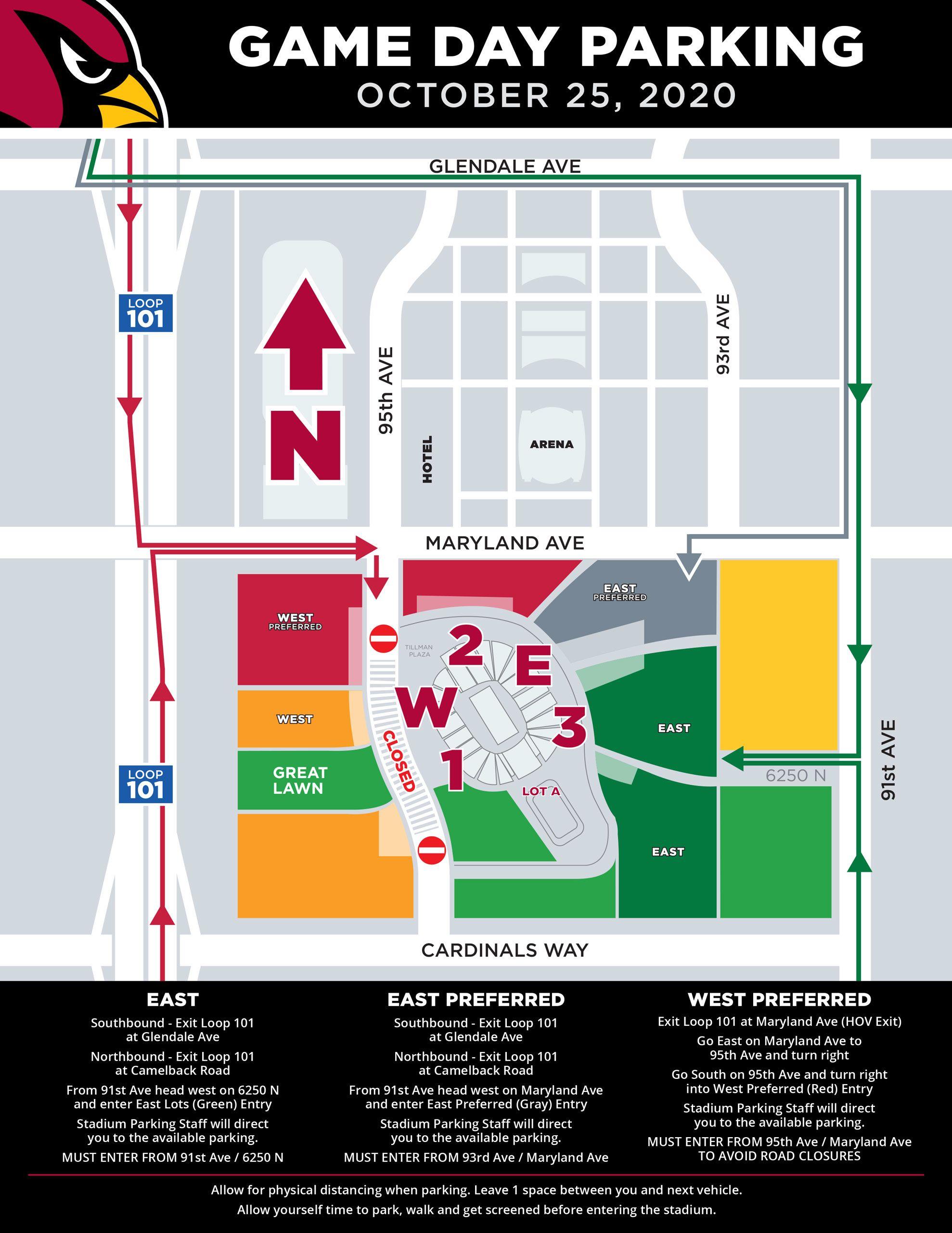 Arizona Cardinals Game Day Parking Map State Farm Stadium October 25, 2020