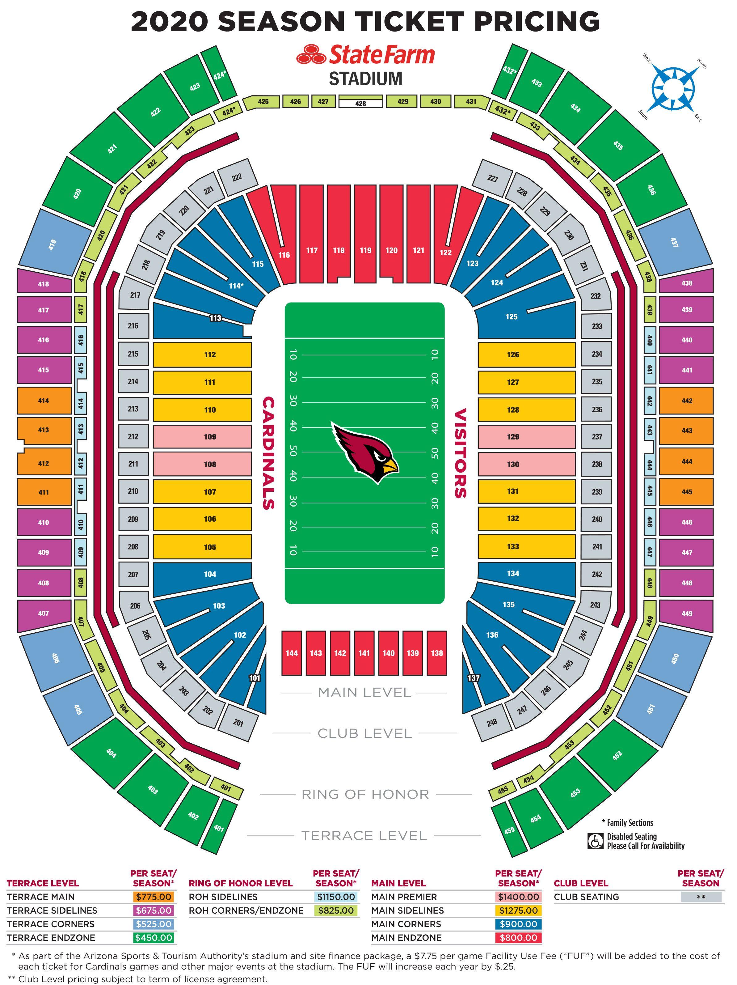 Arizona Cardinals Season Ticket Member Pricing Map Seating Chart Promo Image 050520