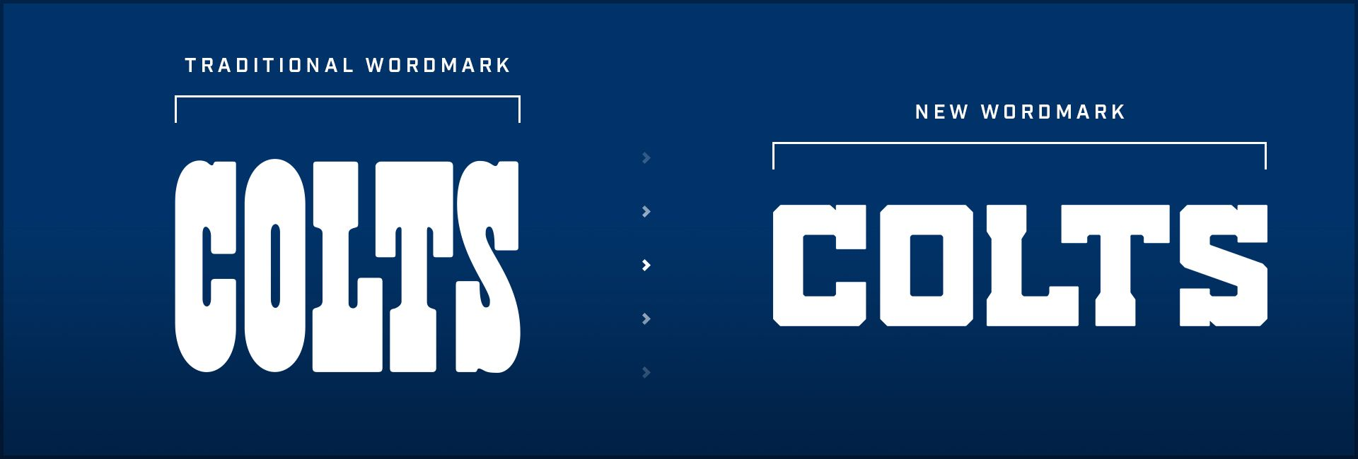 \[Image featuring the traditional COLTS wordmark next to the new COLTS wordmark to be used in 2020\]