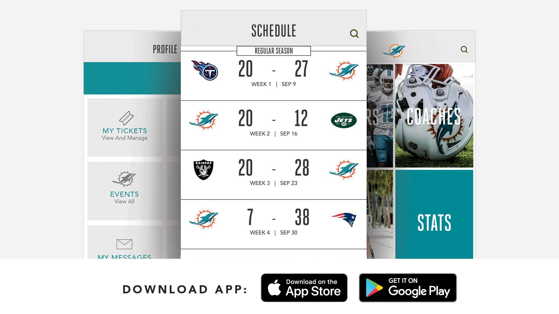 Graphic: Download The Dolphins App - Includes Screenshots of Profile, Schedule and Menus Pages