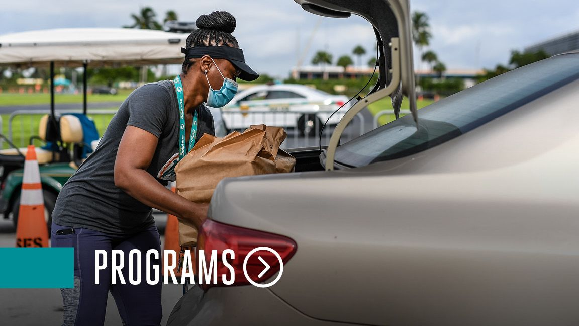 Graphic: Click To Learn More About Miami Dolphins Foundation Programs
