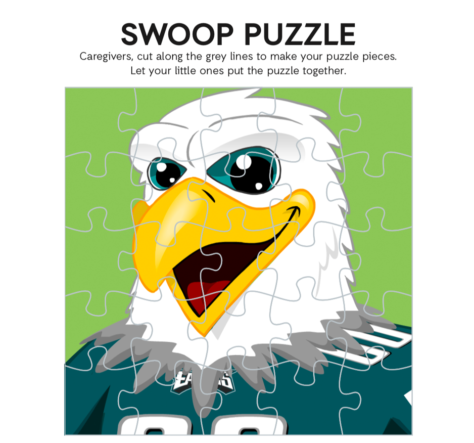 Cutout and complete SWOOP puzzle