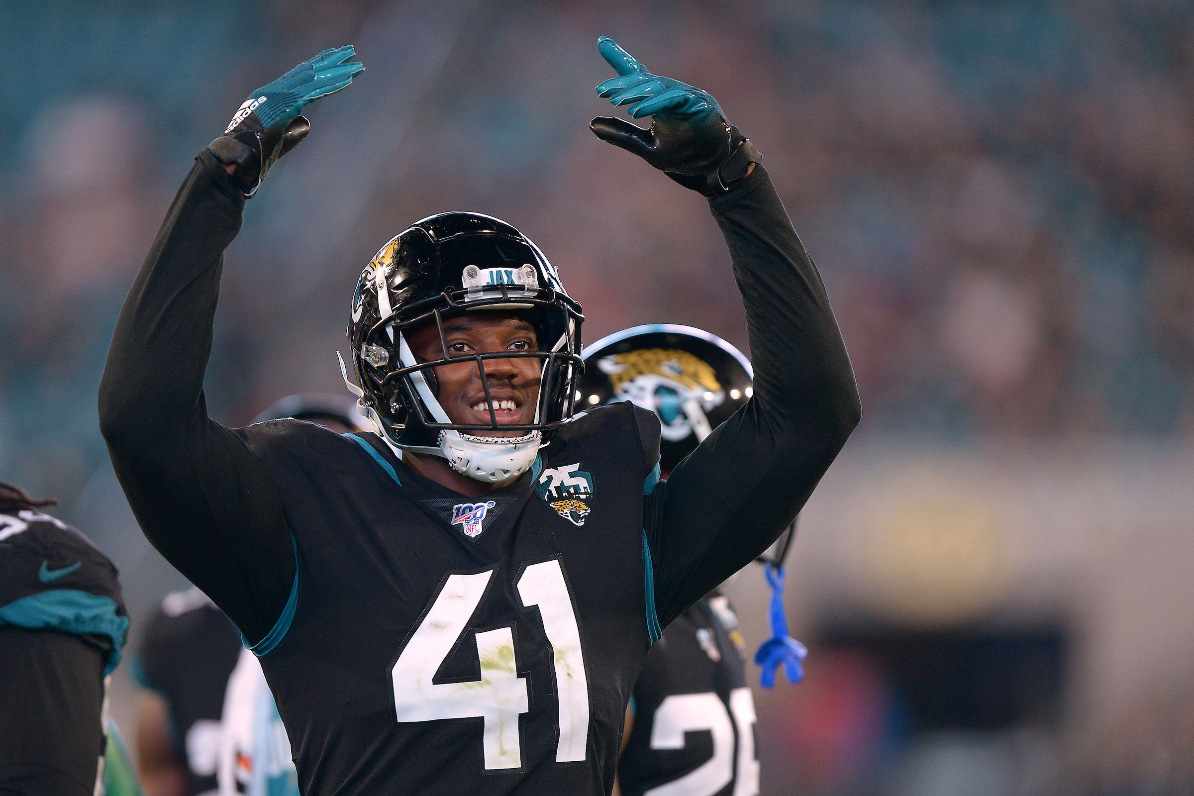 Jacksonville Jaguars rookie defensive end Josh Allen (41) encourages the fans to get loud against the Indianapolis Colts in an NFL game, Sunday, Dec. 29, 2019 in Jacksonville, Fla. (Rick Wilson/Jacksonville Jaguars)