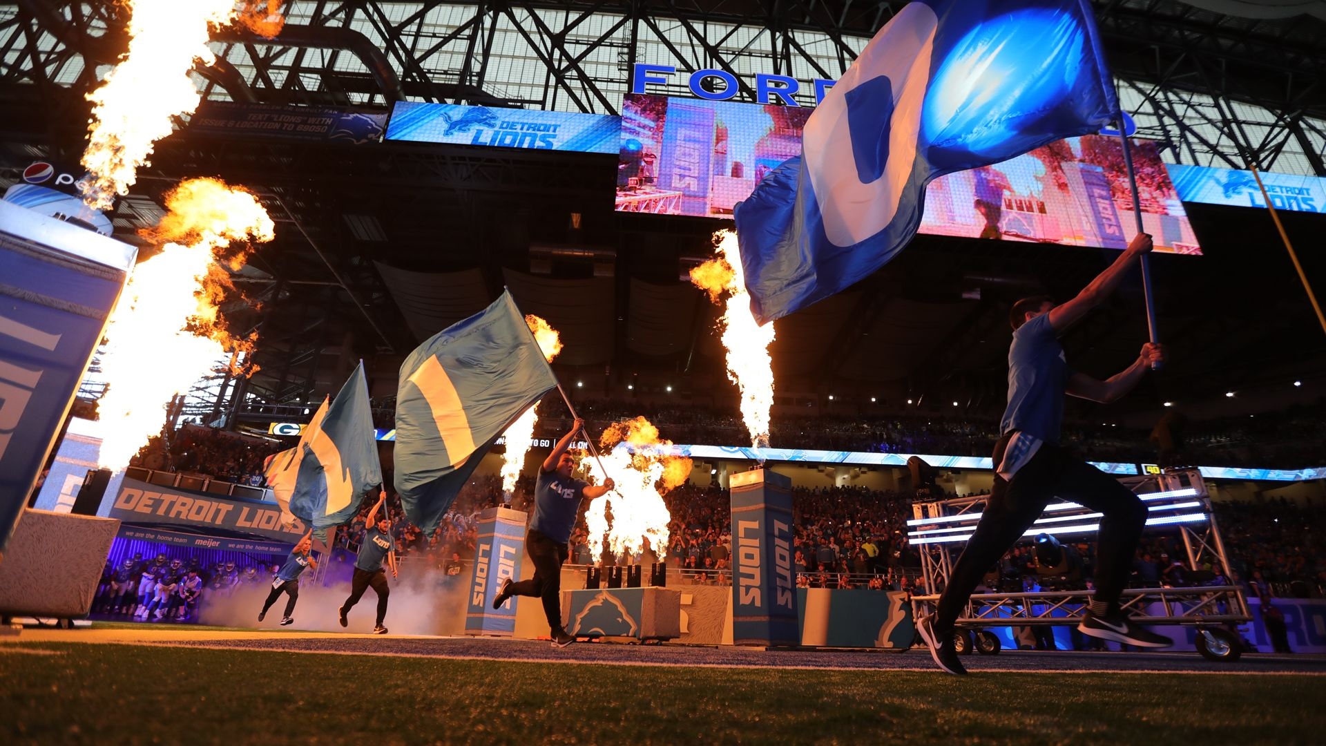 Detroit Lions introductions during a NFL football game against the Green Bay Packers on Sunday, Oct. 7, 2018 in Detroit. (Detroit Lions via AP).