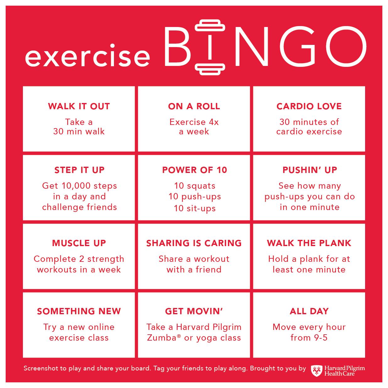 Exercise Bingo