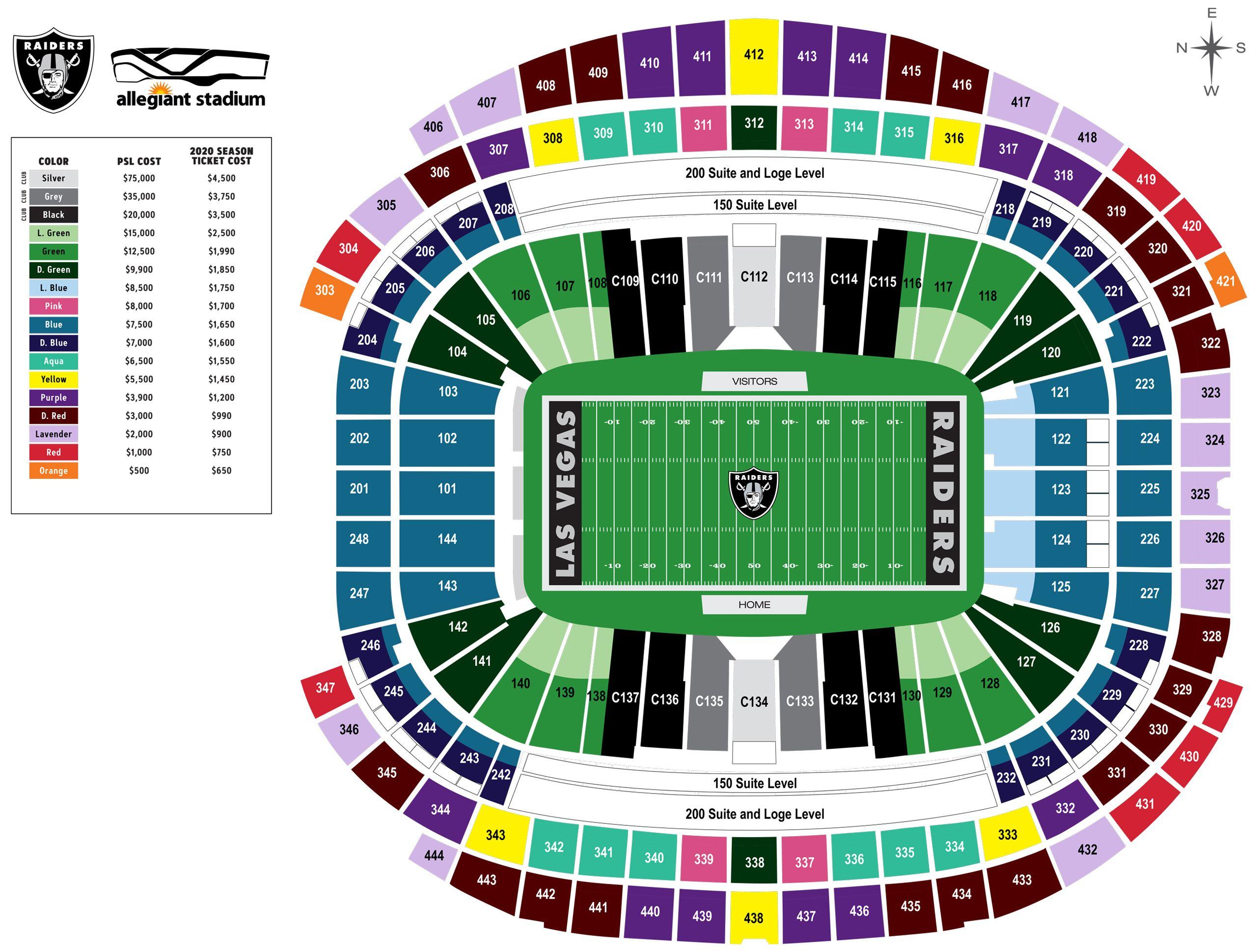 Seating And Pricing Map For Allegiant Stadium Las Vegas Raiders Raiders Com