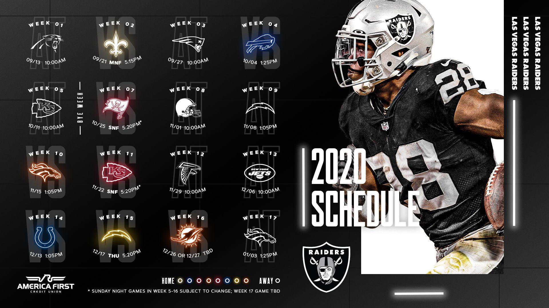 2020 Raiders Full Schedule 1920x1080