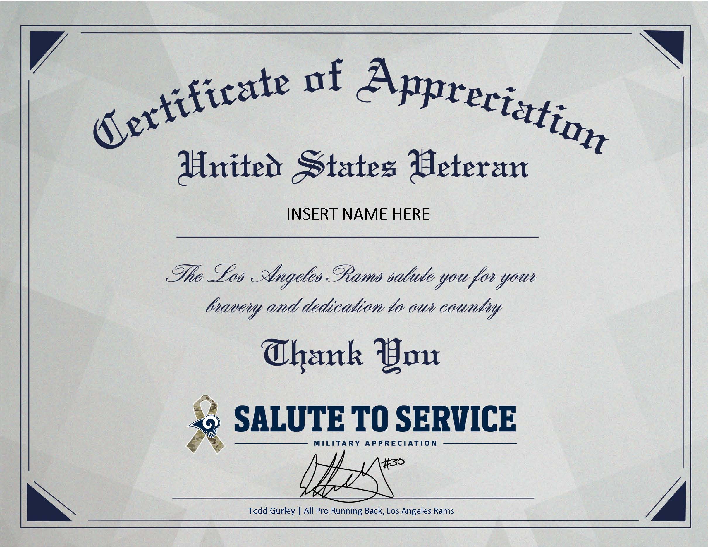 Commendation for Service Certificate