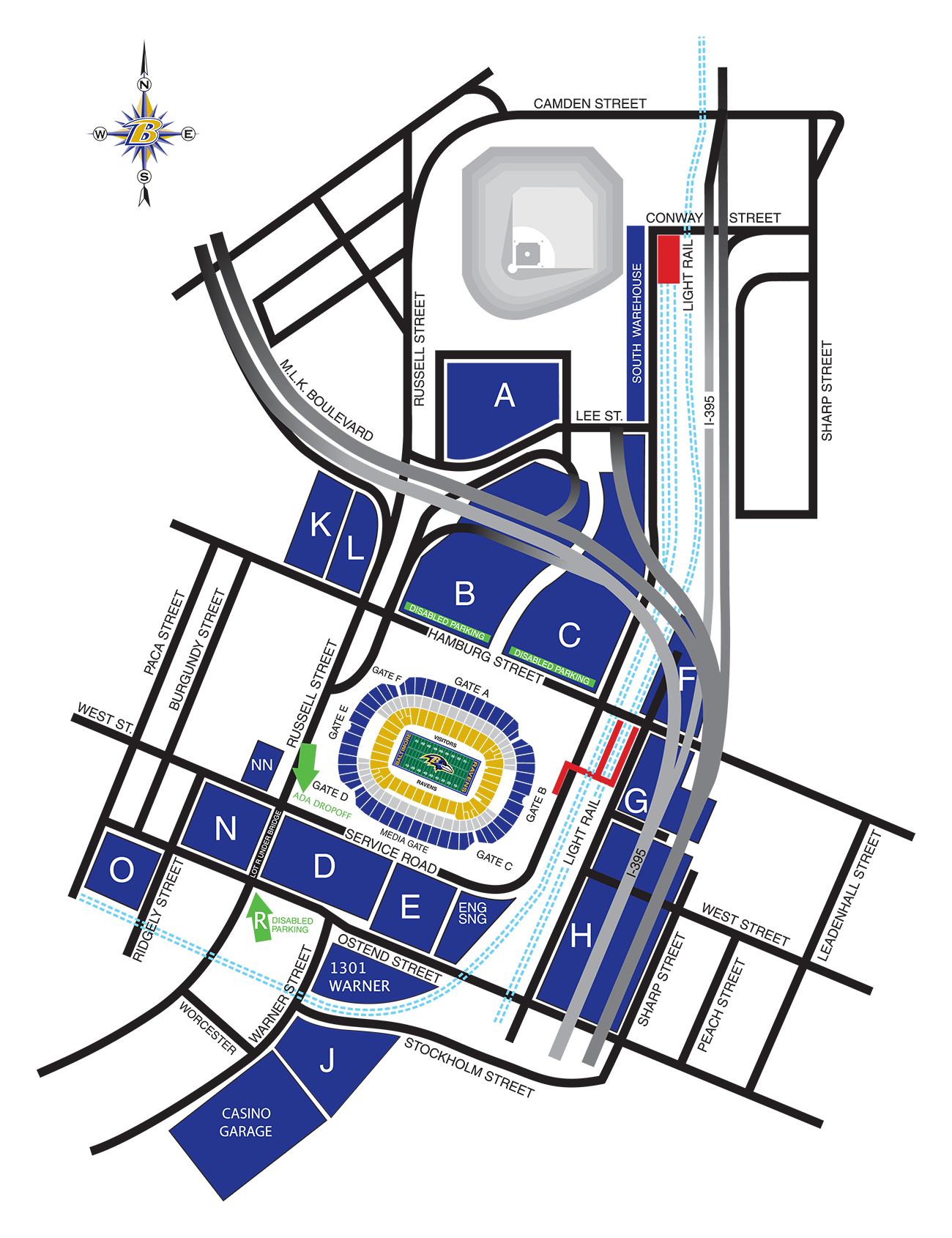 Stadium Parking Diagram