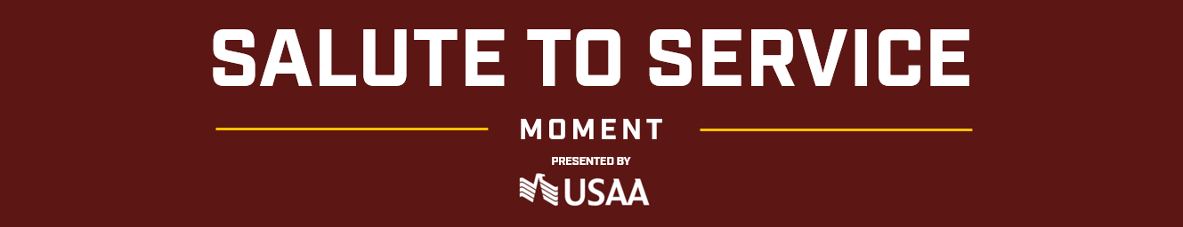The Washington Football Team and USAA, Official Salute to Service Partner of Washington Football, are proud to honor and recognize two service members during each home game.