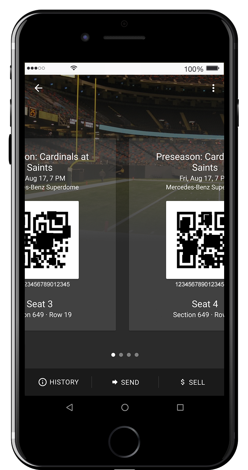 Each event will contain all available tickets for that event. Swipe right for each ticket and present to scan upon entry.