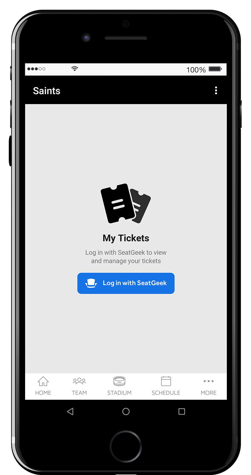 "Tap ""Log in with SeatGeek"" which will re-direct you to the SeatGeek login screen to authenticate your information."