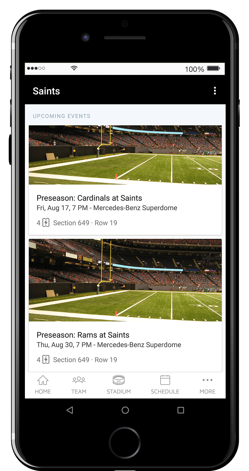 Once logged in, you will see a list of your available tickets for each Saints game.