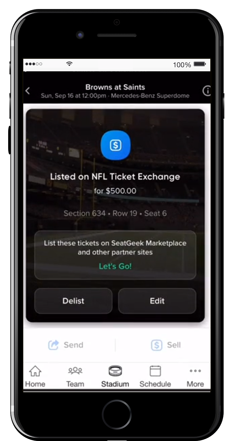 "Once listed, fans can tap ""Let's Go"" for a copy code to be used to list tickets on SeatGeek or other partner websites."