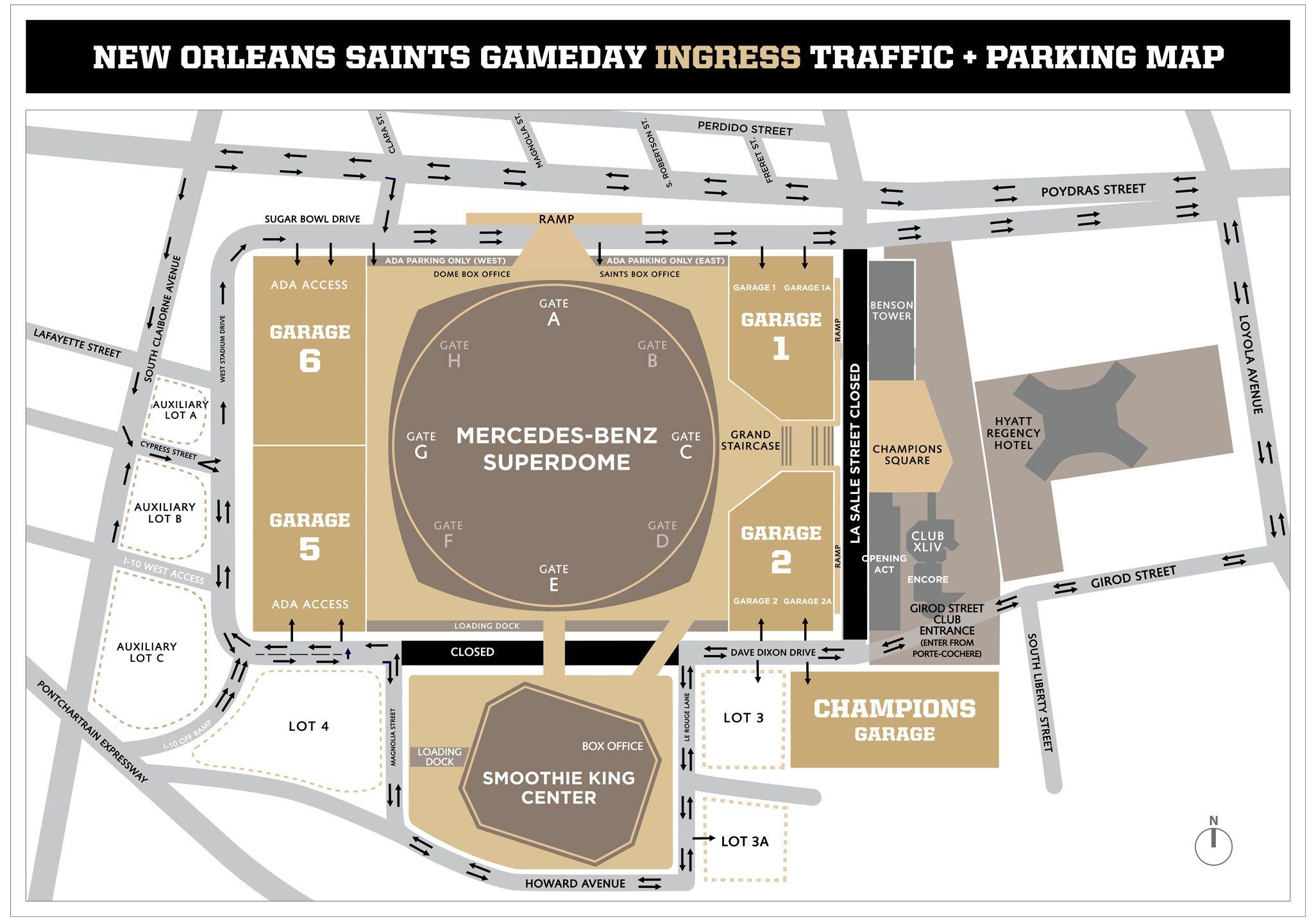 New Orleans Saints Gameday Ingress Traffic & Parking Map