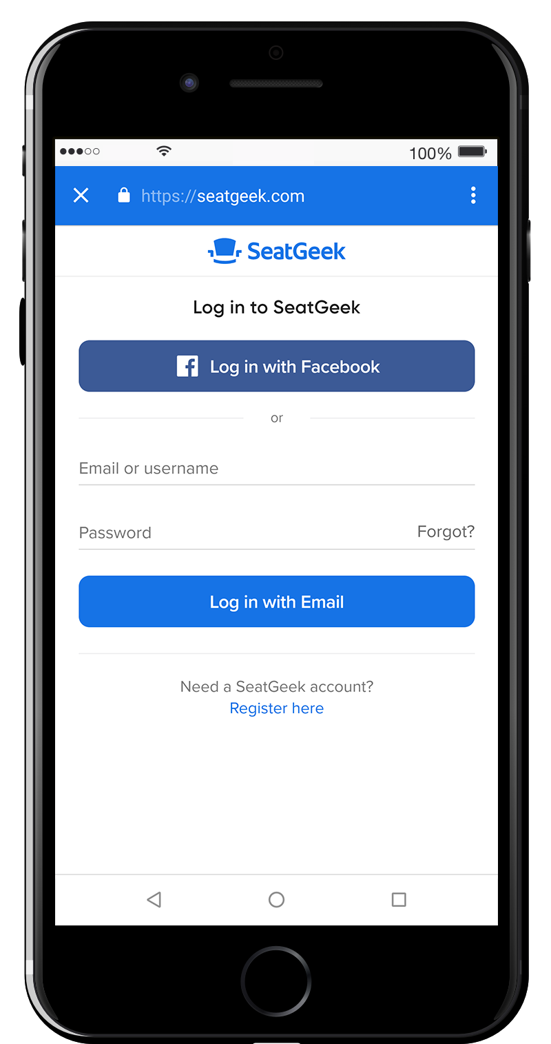 Log in through Facebook or use your email/username associated with your SeatGeek account.