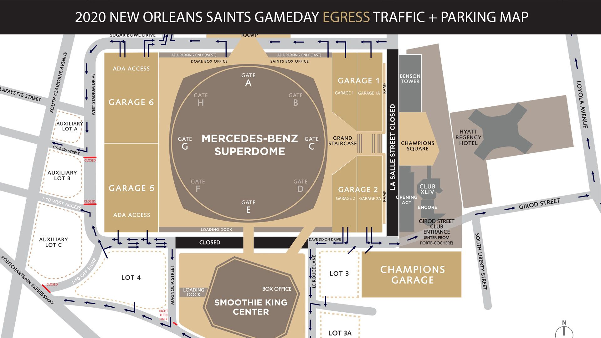 New Orleans Saints Gameday Egress Traffic and Parking Map