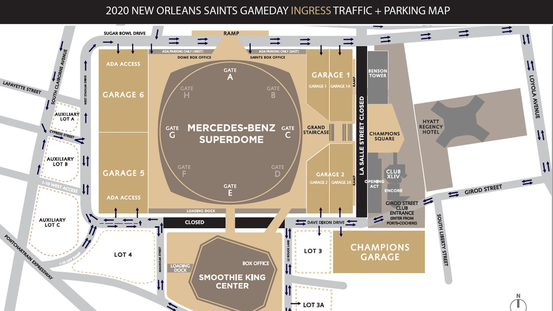 New Orleans Saints Gameday Ingress Traffic and Parking Map