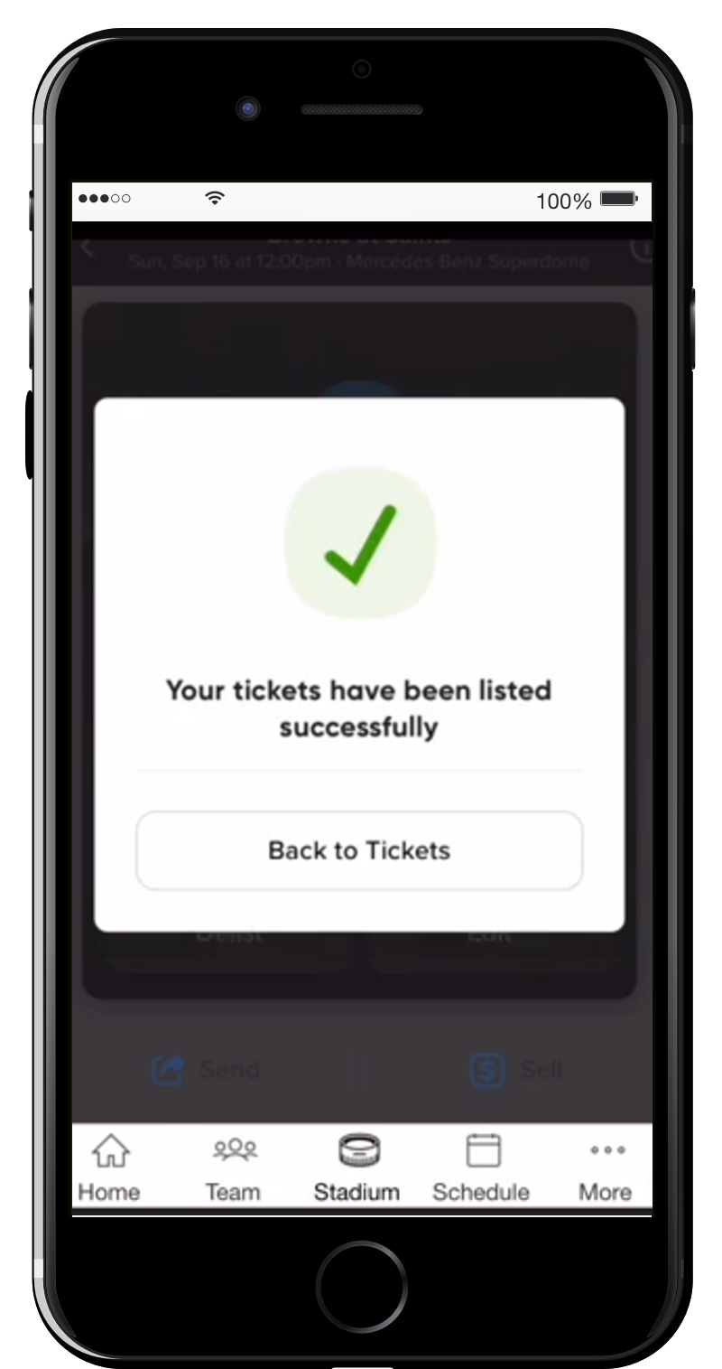 Your tickets have been successfully listed.