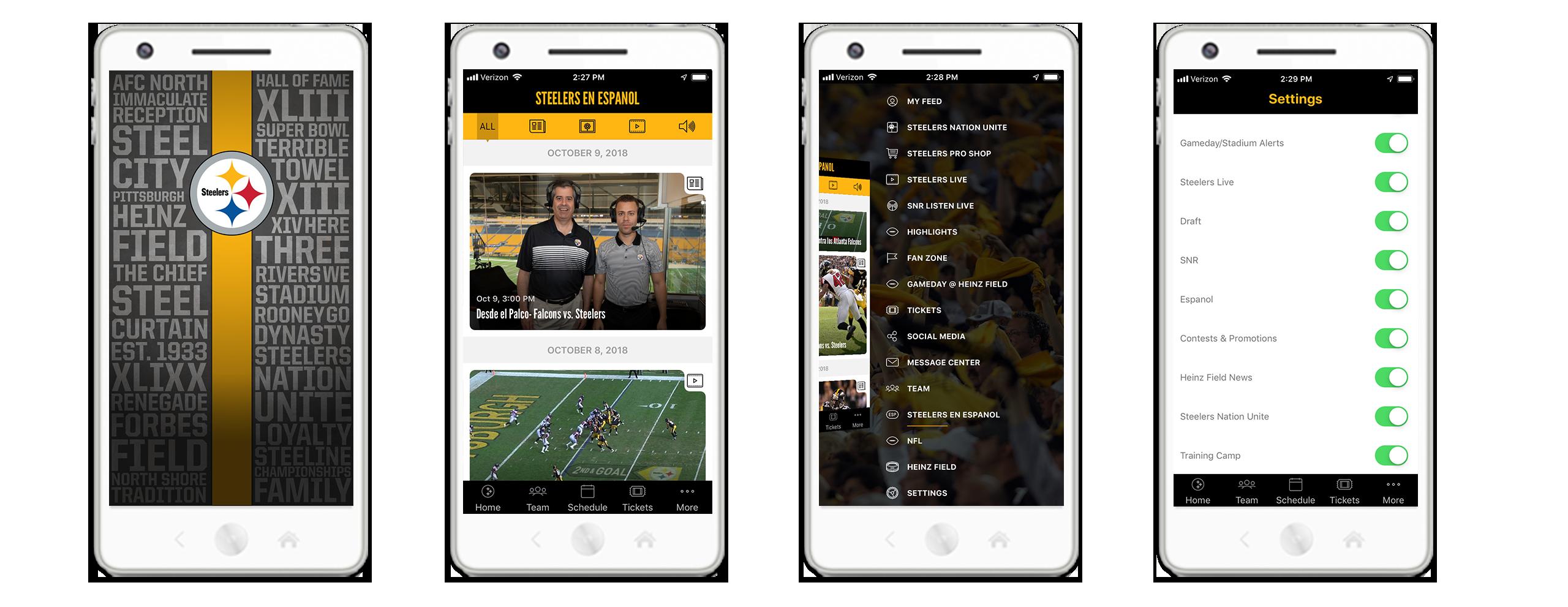 Todo el contenido en español también está disponible en la aplicación móvil oficial de Steelers.