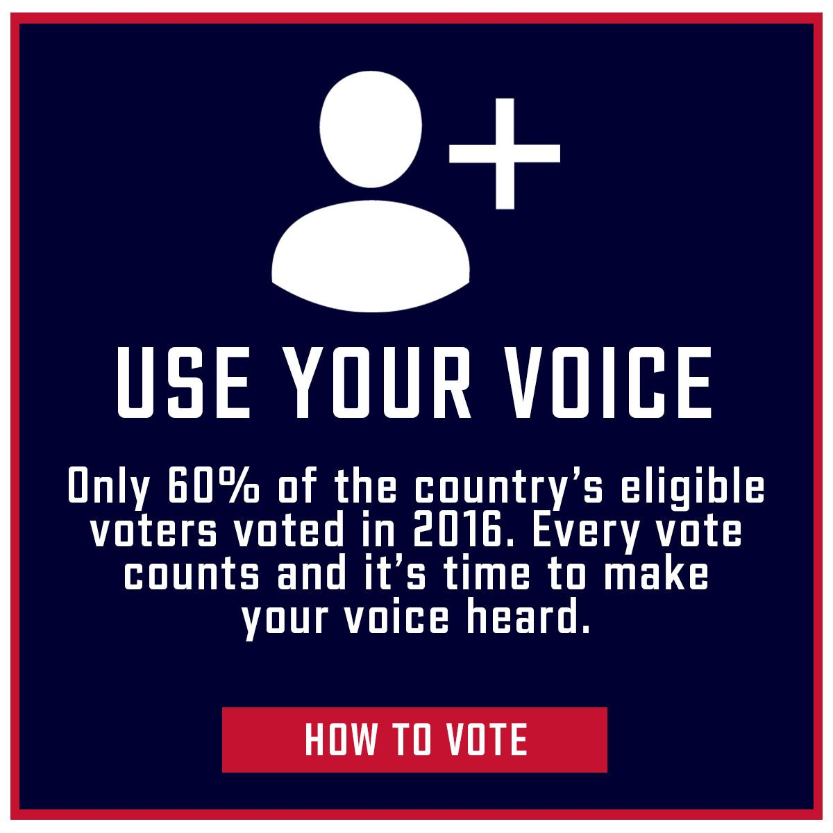 Use Your Voice. Only 60% of the country's eligible voters voted in 2016. Every vote counts and it's time to make your voice heard. How to Vote