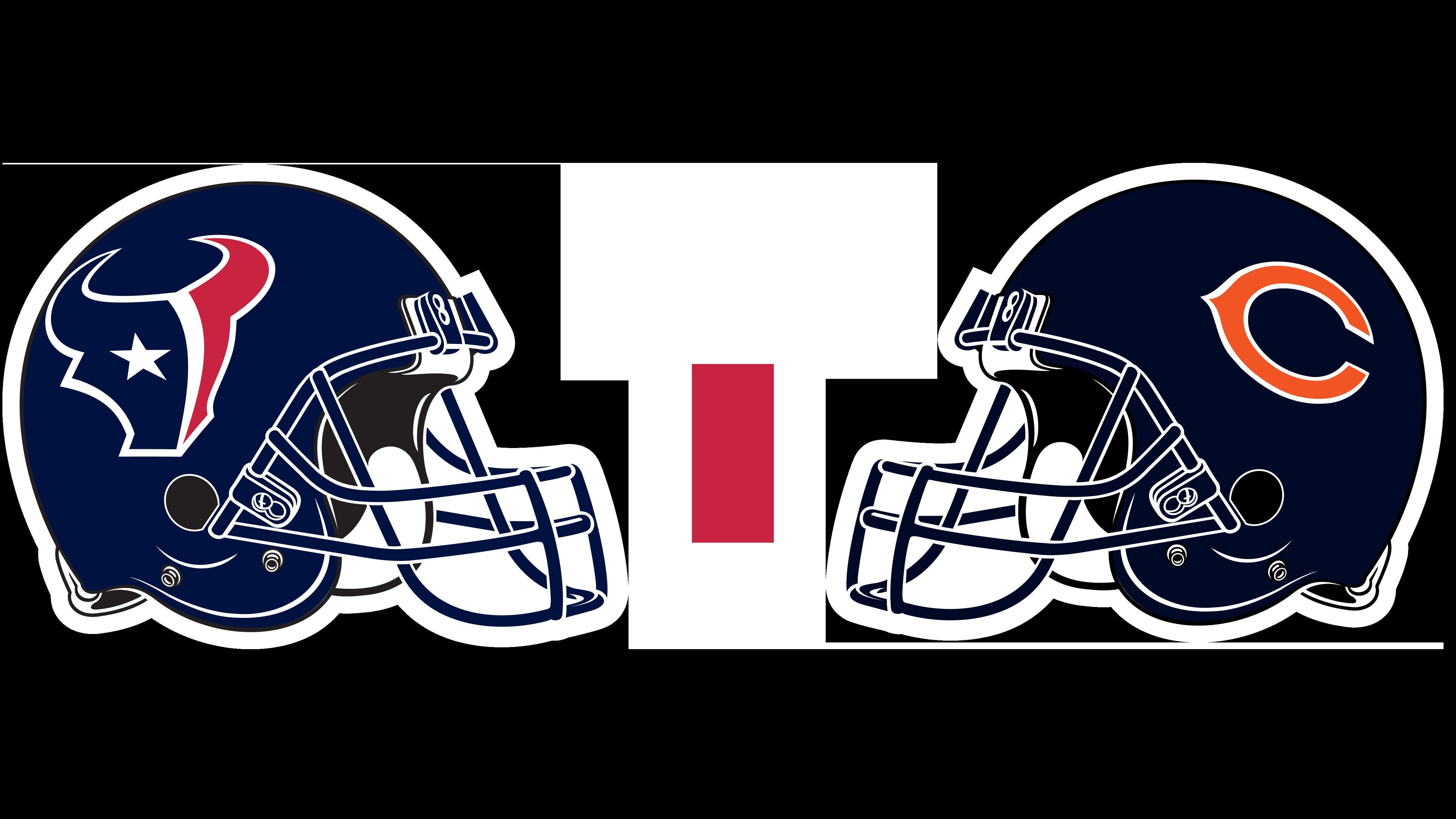 Houston Texans helmet and Chicago Bears helmet