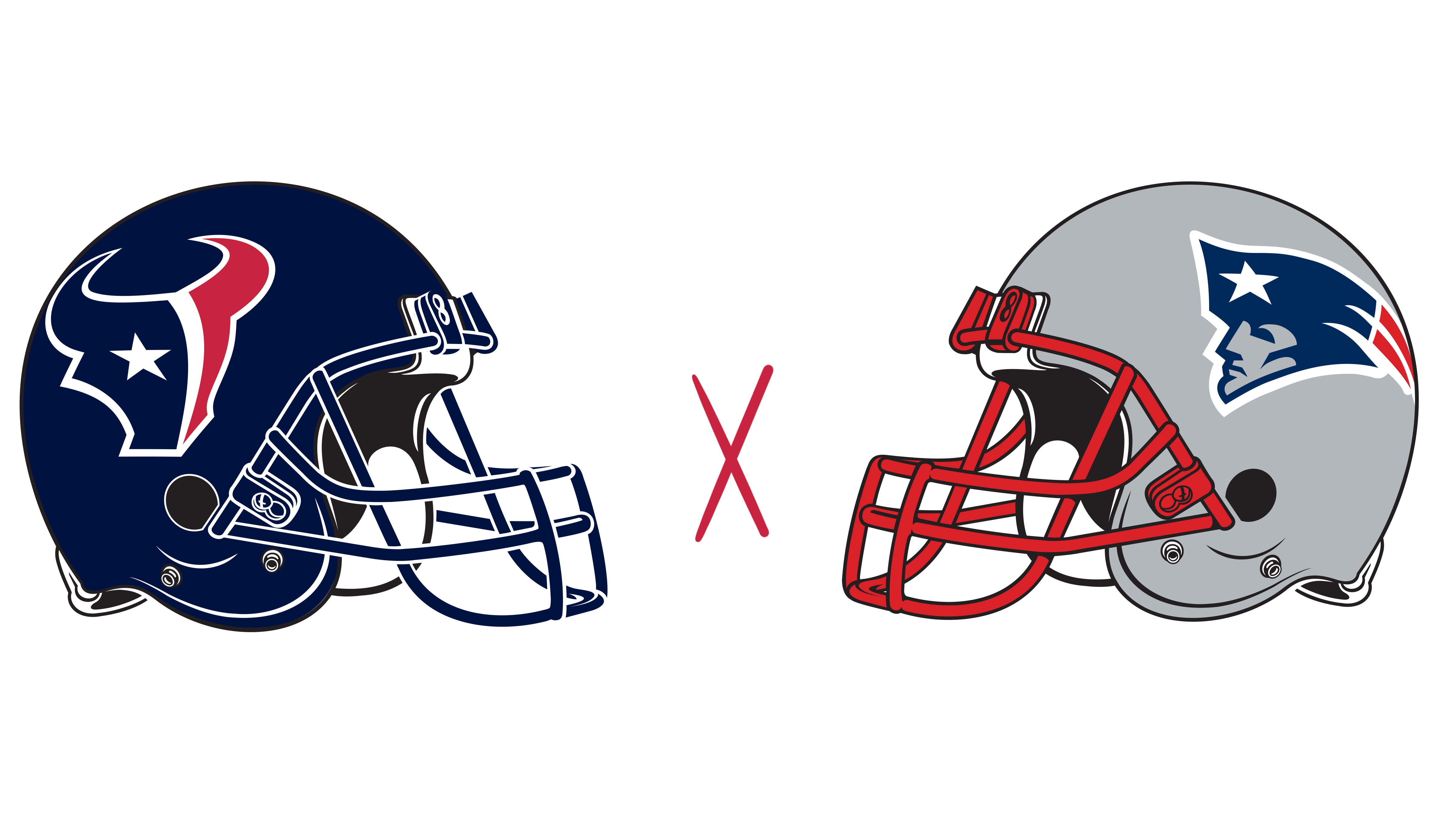 Houston Texans helmet and New England Patriots helmet